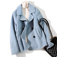 British Style Double Woolen Jackets and Coats Women Autumn Winter Turn-down Collar Slim Short Coat
