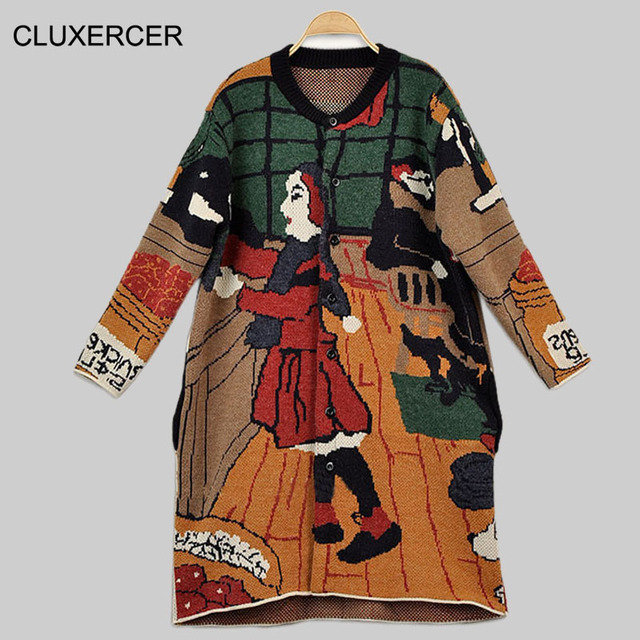 CLUXERCER 2016 New Arrivals Fashion Cartoon Pattern Cardigans Female  Sweaters Long Sleeve Knitted Loose Women Sweater - Aliexpress.com : Buy CLUXERCER 2016 New Arrivals Fashion Cartoon