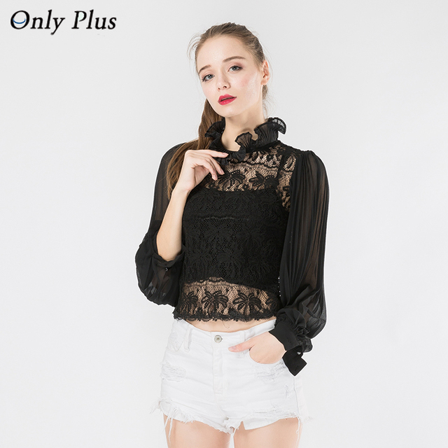 gasa blanca encaje murciélagos ONLY leaf mangas blusa moda PLUS Blusa Collar Mujer Lotus empalme de CRq1w1