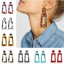 2019 Fashion ZA Jewelry Acrylic Resin Dangle Earrings For Women Geometry Square Tortoiseshell Earrings Wholesale Brincos(China)