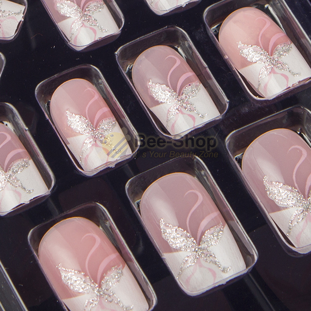 Full sizes 24pcs acrylic full cover nail tips false nail art with full sizes 24pcs acrylic full cover nail tips false nail art with glue pre designed fake prinsesfo Image collections