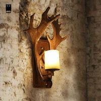 Resin Glass Deer Horn Antler Wall Lamp Fixture Retro Vintage Industrial Rustic Sconce Light Luminaire for Home Bedroom Bedside