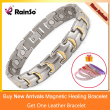 Rainso Men Bracelet Hand Chain Health Energy Magnetic Bracelet Charm Male Titanium Hologram Bracelets for Men Jewelry OTB-738(China)