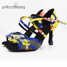 Evkoodance  Heel Height 8.3cm Zapatos De Baile Size US 4-12 Dance Shoes Yellow Flower African Print Style Evk565