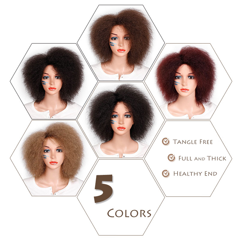Image 4 - Synthetic Afro Wig for Women African Dark Brown Black Red Color Yaki Straight Short Wig Cosplay Hair-in Synthetic None-Lace  Wigs from Hair Extensions & Wigs