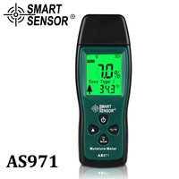 Portable Handheld Wood Moisture Meter Hygrome W Temperature Humidity Tester LCD Backlight SMART SENSOR AS971 W