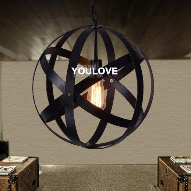 Vintage Round Globe Black Pendant Lights Fixture Home Indoor Lighting Restaurant Dining Room Cafes Pub Shop
