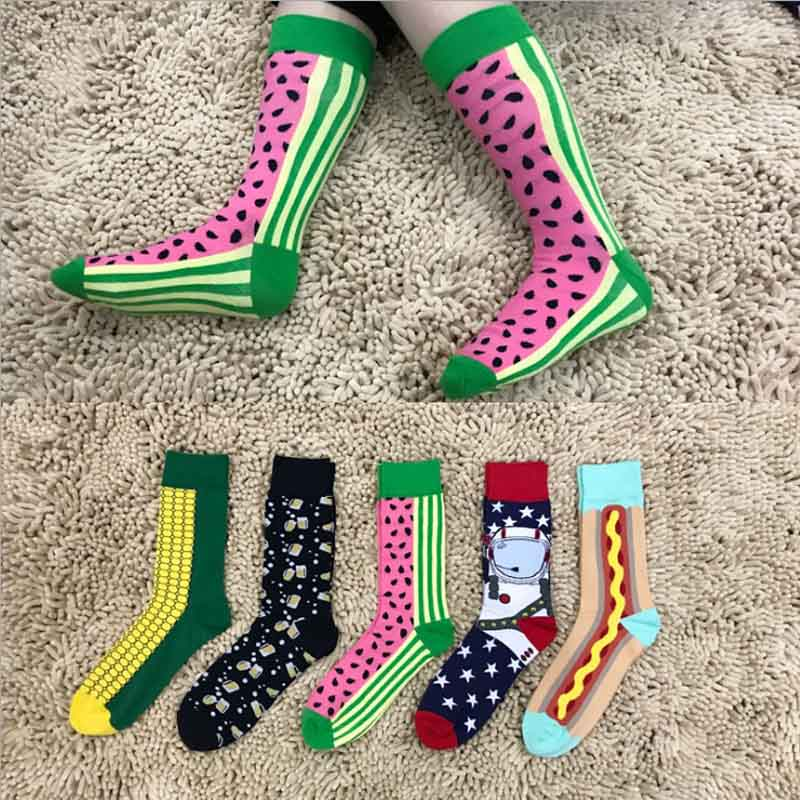 Spring 2018 New Fashion Funny Socks Men Cute Adult Cotton Socken Meias Happy Socks Colorful Lot Fruit