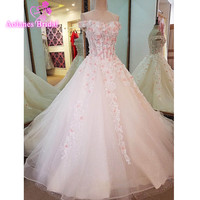 2017 Robe De Mariage Boat Neck Appliques Pearls Beading Luxury Real Photo Wedding Dress Off Shoulder