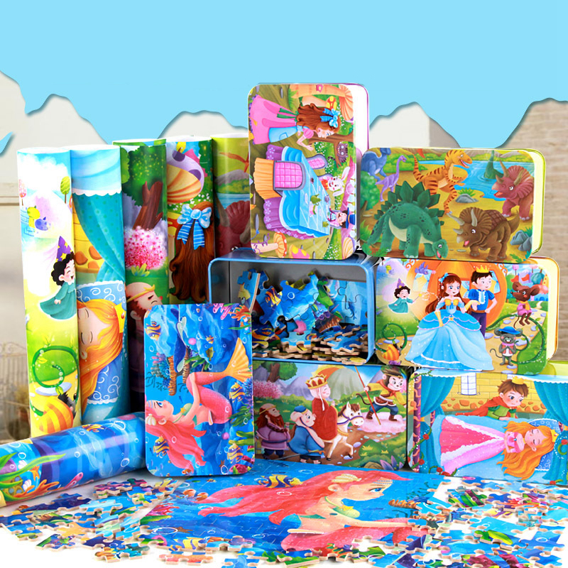 200 Pieces Wooden Puzzle Toy Kids Cartoon Wood Puzzles Educational Toys For Children Parent Child Interaction Toy Christmas Gift
