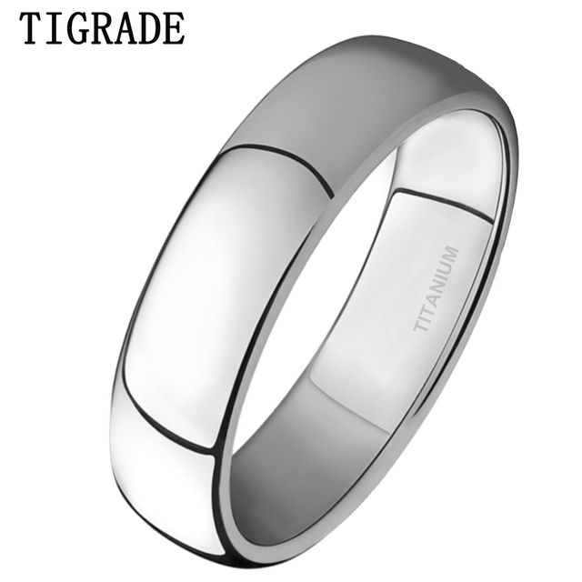 Top TIGRADE 4mm Mens Wedding Band Brushed Polished Titanium Simple  GI95