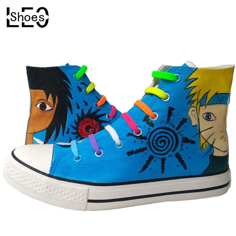 ФОТО anime naruto kids children painted canvas  sneakers high top no tie cartoon naruto uchiha sasuke boys girls baby toddler shoes