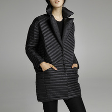 2019 spring thin down coat medium long down female patchwork color block thermal new arrival women