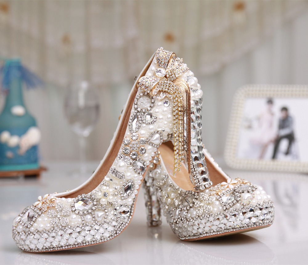 Perle Parti Hauts De Mariée Grande Chaussures À Dames En Plateforme Mariage Talons 3 Cristal Cuir Taille Gland Véritable Luxe Femmes fYv6yb7gI
