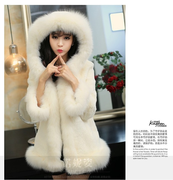 d7eaf39e3 Hot sell 2015 new women winter fur coat Black White rabbit fur warm ...