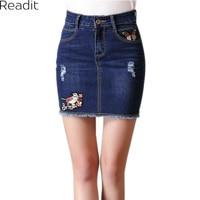 4XL Plus Size Women Bandage Skirt 2017 Sexy Slim Mini Denim Skirt Jeans Women Summer Skirts