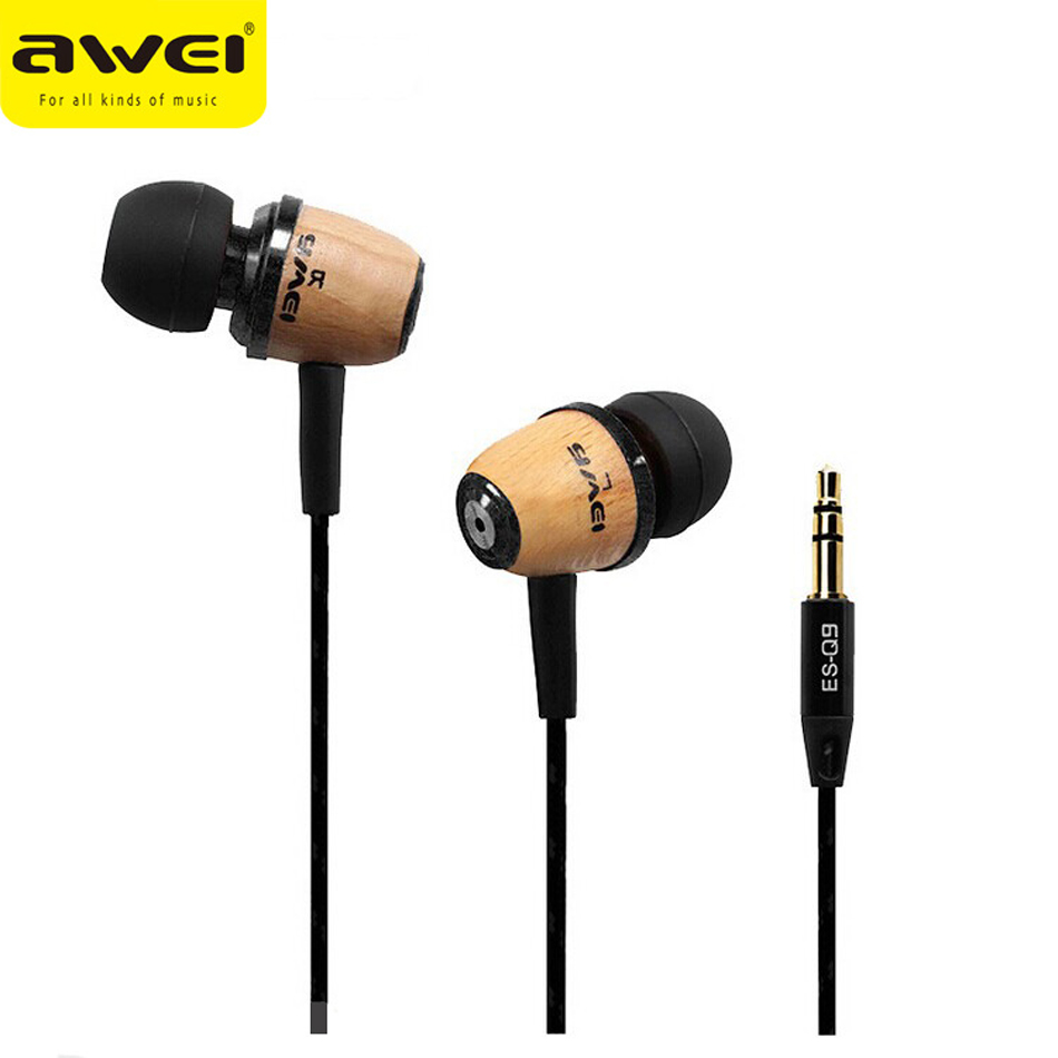 awei q6i super bass in ear earphone w mic yellow purple 3 5mm plug Awei Q9 Earphone Wooden Design Super Bass In-ear Earphone with 1.2m Cable With Noise Cancelling  for Smartphone Tablet PC