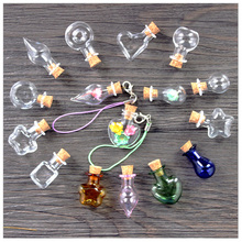 Mixed 8 Shape Cute Mini Glass Bottles Pendant Clear Cork Stopper Drift Wishing Bottles DIY For Necklace/Mobile Chain Craft Jar
