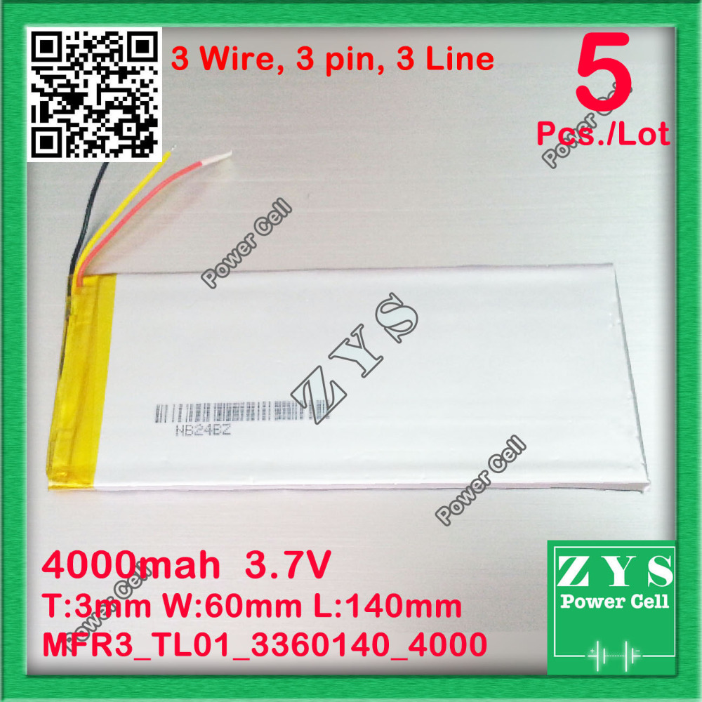 5pcs.3 wire,Polymer lithium ion battery 3.7V 3360140 4000mah  can be customized wholesale CE FCC ROHS MSDS quality certification shun core 2500mah 605060 3 7v story learning hine flash shoe lithium polymer battery 654958