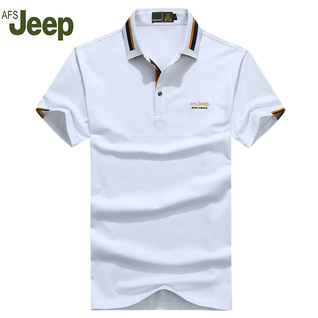 2016 Nuevos hombres de la Marca Polo Camisa de AFS JEEP sólido Algodón de Los Hombres de Polo de Manga Corta Camisa de Polo Más Tamaño 3XL 50