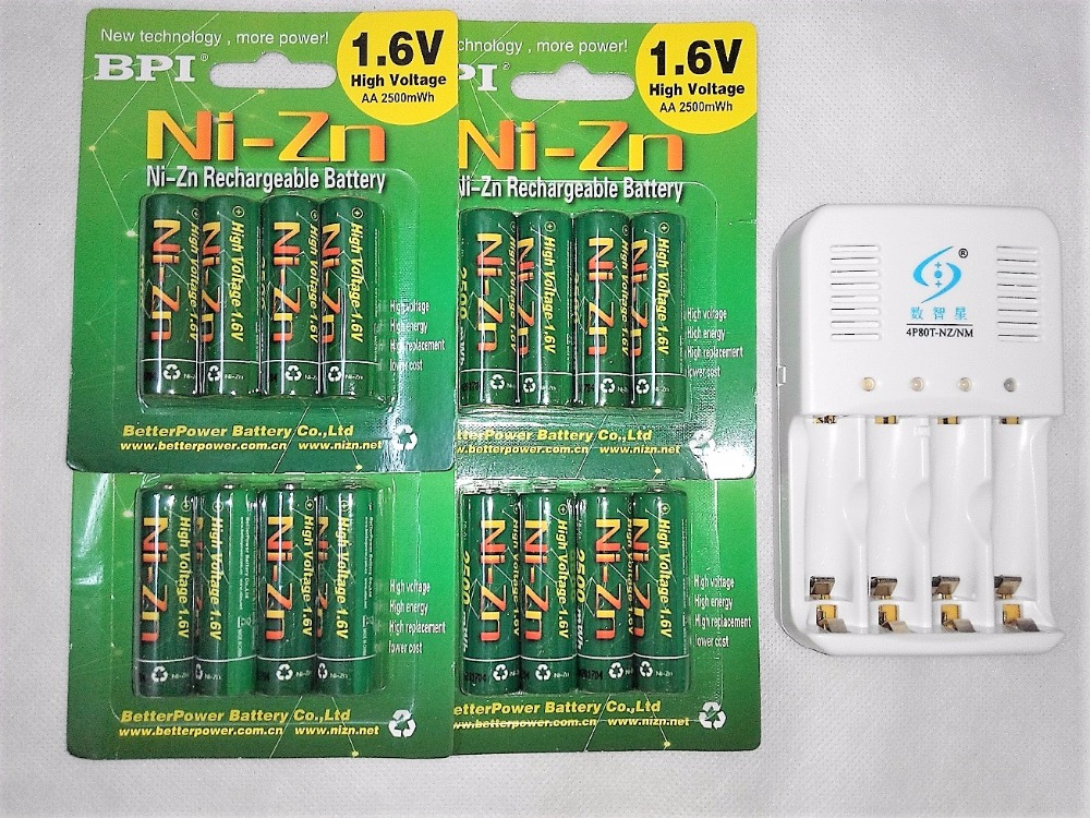 Powerful BPI 16Pcs 1.6v aa 2500mWh rechargeable battery nizn Ni-Zn rechargeable battery + 4 slots aa aaa NiMH NiZn smart charger free shipping 4pcs aa nizn 1 6v 2500mwh high voltage rechargeable battery hot sale 3 5 hour fast charger