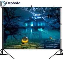 Dephoto Fondali Foto di Notte di Halloween di Orrore Zucca di Luce Sullo Sfondo Photocall Personalizza Professionale Fotografia Del Prodotto