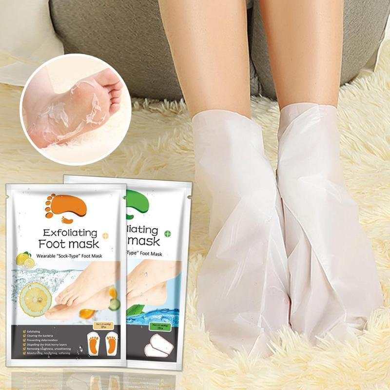1Bag=2pcs Exfoliating Foot Mask Socks For Pedicure Socks For Feet Peeling Foot Mask Health Care Skin Care Feet Dead Skin Removal(China)