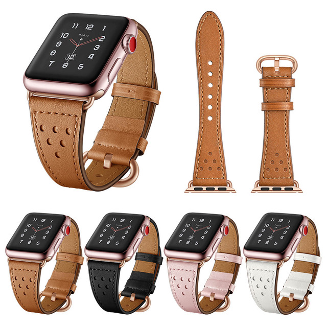3dc86994a0b2 Luxury Genuine Leather Watchband for Apple Watch Band Series 3 2 1 Rose Gold  Buckle Bracelet 42mm 38mm Strap for iWatch Band