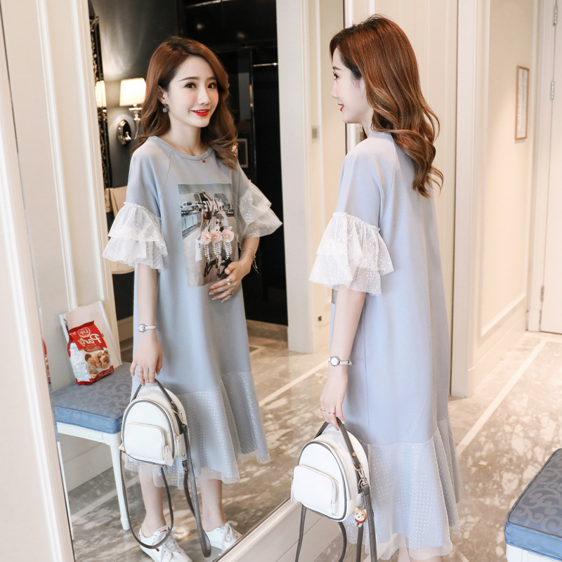 Preppy Style Maternity Dress Pattern Printing Summer Pregnancy Clothes Loose Cotton Pregnancy Clothing Of Pregnant Women