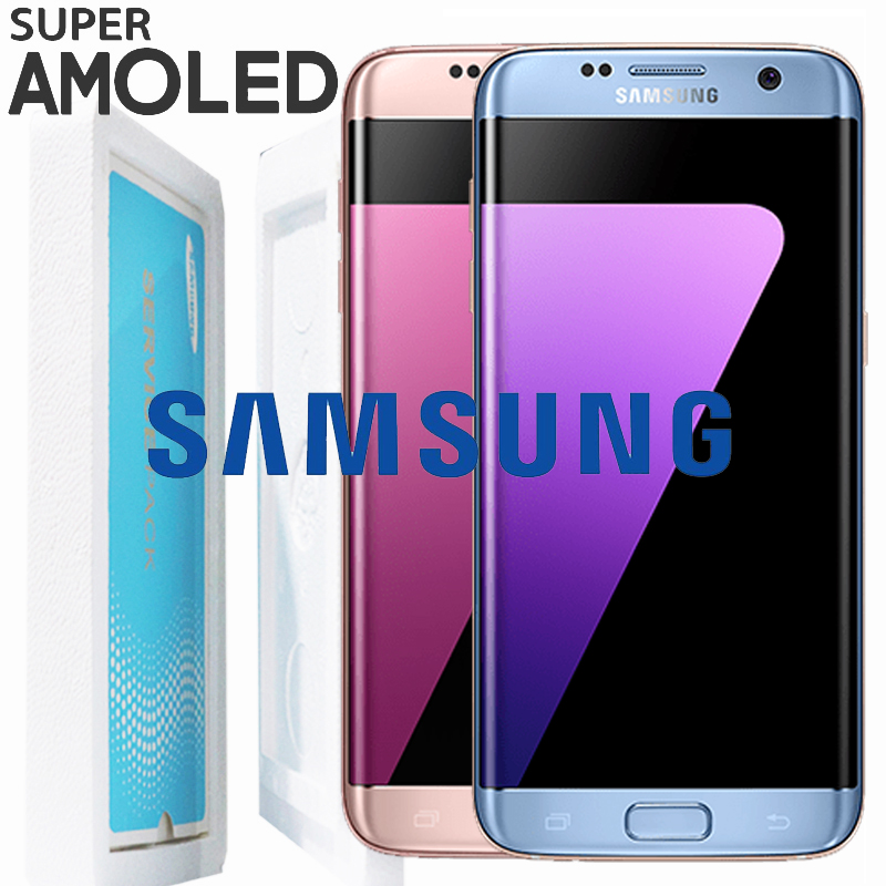 ORIGINAL Coral Blue Pink 5 5 LCD with Frame for SAMSUNG Galaxy s7 edge Display G935