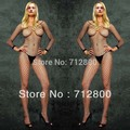 2014 Sexy Black Manga Comprida Fish Net Corpo Stocking Pijamas Lingerie, roupa Custume Pijamas Mulheres W3018