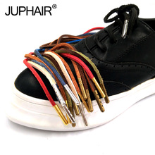 1 Pair Top Layer Leather Shoelaces Colorful Aolid Shoelace Shoesshoelace Decorative Type Laces And Metal Head