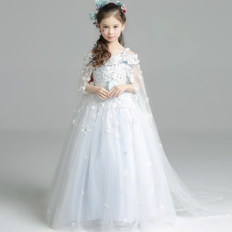 Luxury Ball Gown Princess Dress Off the Shoulder Flower Girls Dresses Wedding Small Tailling Kids Pageant Dress Birthday B52