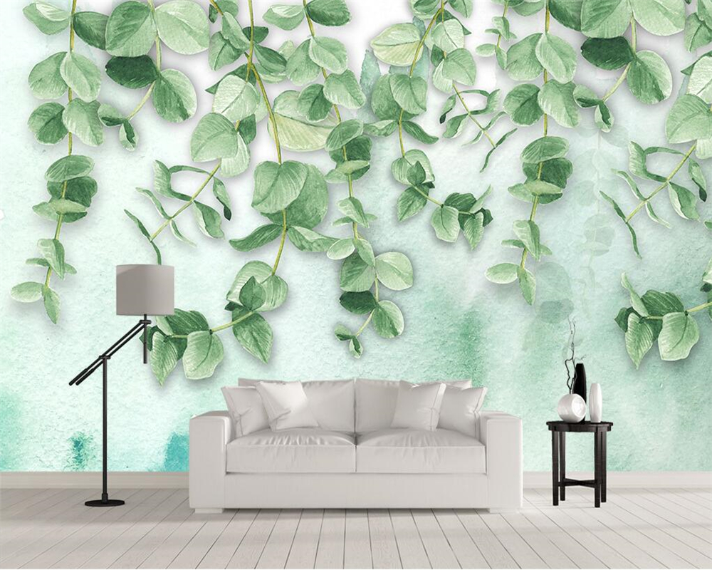 Reasonable Beibehang Custom Wallpaper Fresh Green Leaves Watercolor Style Nordic Tv Background Wall Living Room Bedroom Murals 3d Wallpaper To Rank First Among Similar Products Wallpapers