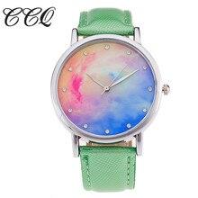CCQ Céu Estrelado Relógio com Pulseira de Couro Marca de Luxo Casual Mulheres Strass Relógio de Quartzo Das Senhoras relógios de Pulso Relogio feminino C23
