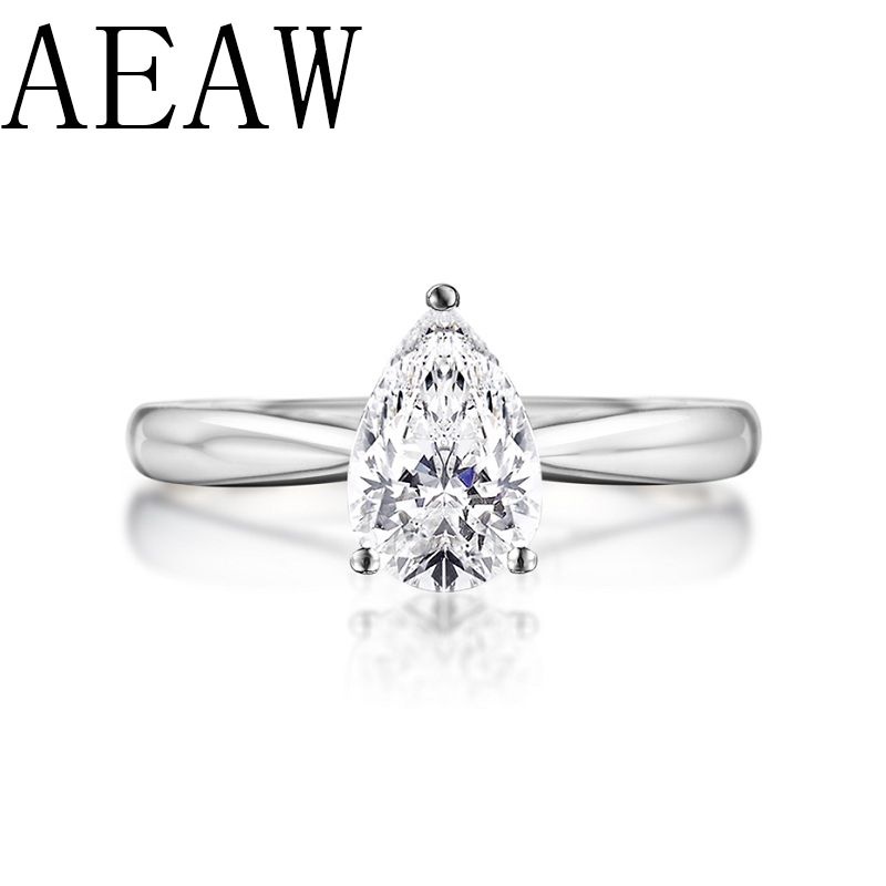 AEAW 0.5ct  Pear Cut Forever Brilliant Moissanite Engagement Ring 925 Sliver Unique Moissanite Wedding Bridal Ring For Women-in Rings from Jewelry & Accessories    1