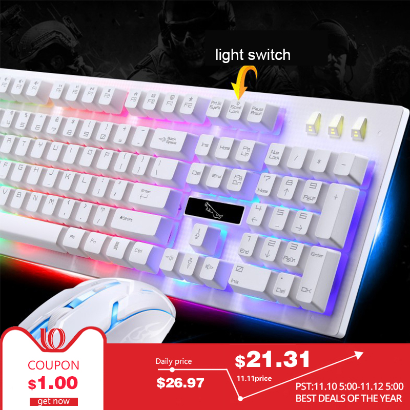 PARASOLANT Wired USB PC Gamer Suspension Mechanical Feel Keyboard And Mouse Set Photoelectric Laptop Computer Backlit Keyboard backlight gaming keyboard full key slim led backlit usb keyboard with similar mechanical feel and gamer mouse set for computer