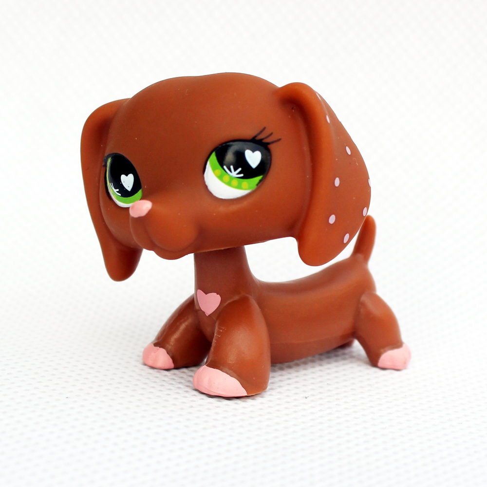 Rare original dog collection pet shop lps toys DACHSHUND #556 cute little brown pink heart sausage kids Christmas present pet shop toys dachshund 932 bronw sausage dog star pink eyes