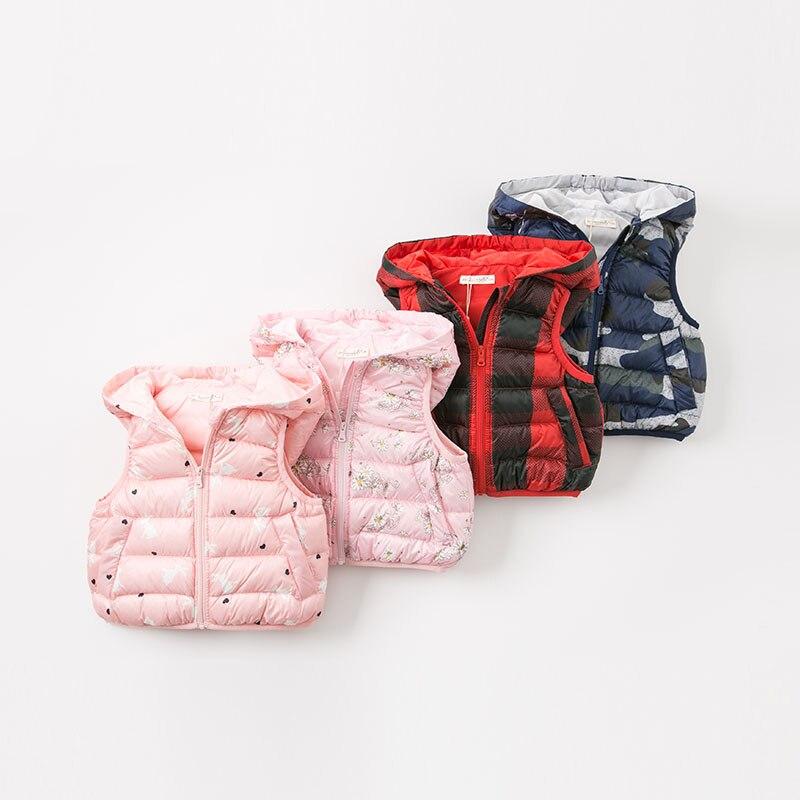 DB9291 dave bella autumn winter infant baby girls fashion white duck down coats kids toddler sleeveless