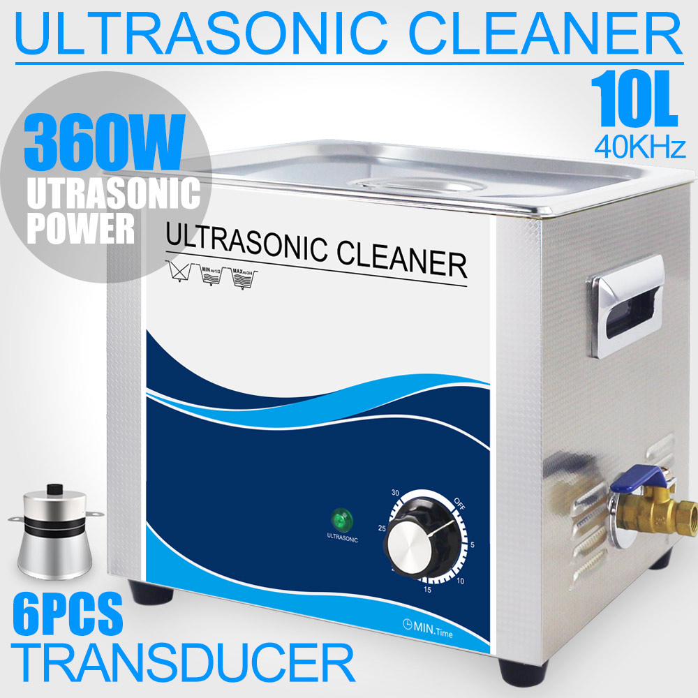 Ultrasonic Cleaner 10L Bath 240W/360W Ultrasound Cleaning Machine Industrial Sonic for Car Filter Printer Head Hardware Gearing