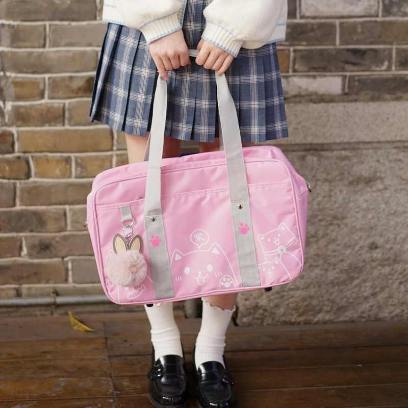 College Style Cute Cat Print Japanese JK Uniform Shoulder Bag Student Lolita Cosplay Oxford Handbag Schoolbag
