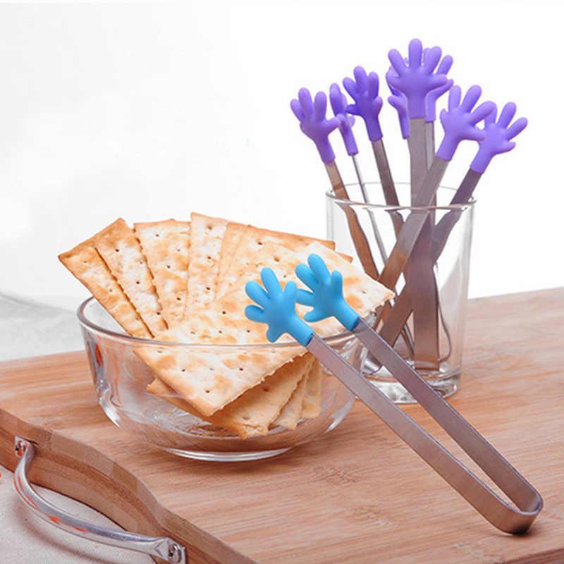 Creatieve Hand Vorm Mini Siliconen Voedsel Clip Salade Serveren BBQ Tang Keuken Rvs Handvat Keukengerei Koken Gereedschap