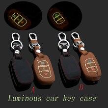 Genuine Leather Car Keychain key cover bag Case Fob Cover Fits For Hyunda i Mistra IX35 IX25 Santa Fe Key Rings Auto Accessory