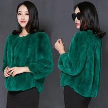 Winter 100%  Ladies Natural Whole Skin Rex Rabbit Fur Jackets Coats Women O neck Slim Fur outerwear Plus Size M-3XL Waistcoats
