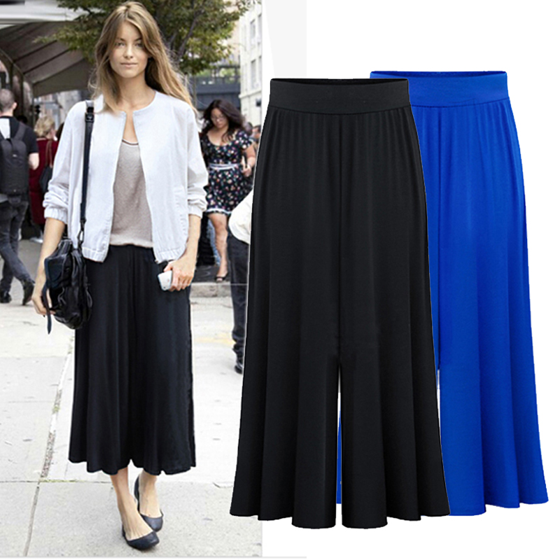 Europe and America 2018 women's summer fashion loose, casual   pant     wide     leg     pants   calf-length   pant   culottes big size XL-6XL