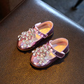 2016 autumn girls rhinestone princesa shoes para los niños de cuero de la pu shoes kids party fashion brand shoes purple baby shoes pisos
