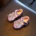 2016 outono meninas strass princesa shoes para crianças pu leather shoes crianças marca fashion party shoes bebê roxo shoes flats
