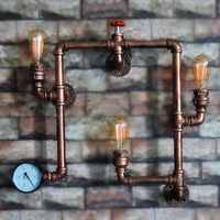 Creative Retro Industrial Iron Pipes Wall Lamp Handmade Hanging Lamps Bar Vintage Home Decoration Accessories Antique Home Decor