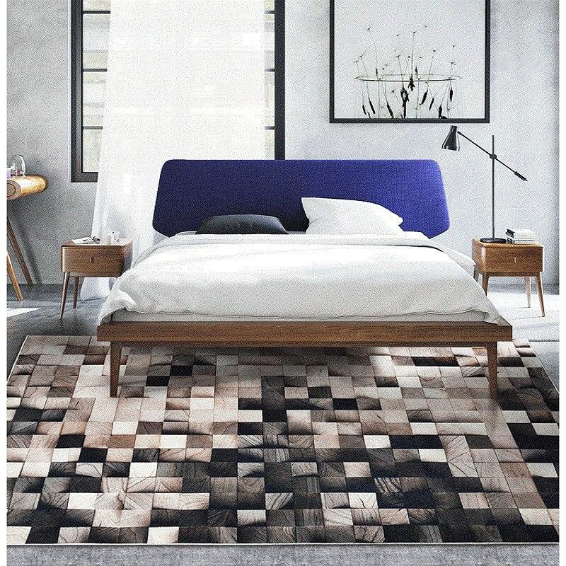 Ins nordique grain de bois géométrique dégradé salon tapis chambre chevet tapis étude tapis de sol antidérapant superfine fiber tapis - 3