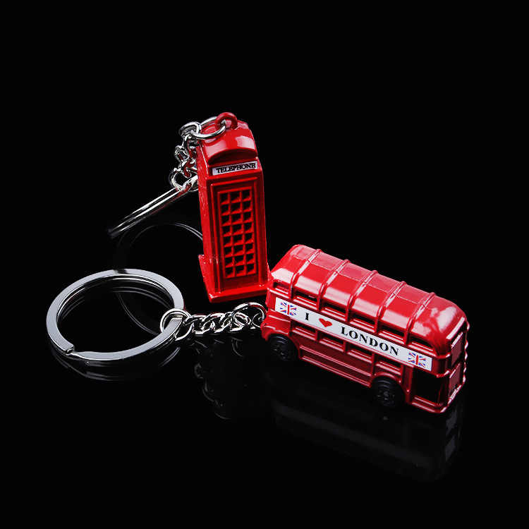 Creative Red Color Uk Flag London Bus Telephone Booth Keychain For Car Keyring Auto Key Chain Ring Vehicle Store Gift CNYOWO
